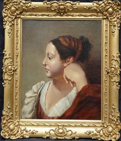 Portrait of a Woman in a red Dress - French Old Master art oil painting