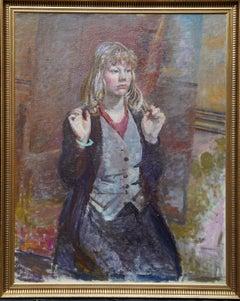 Portrait of a Girl Kneeling  - Scottish 50's art portrait oil painting