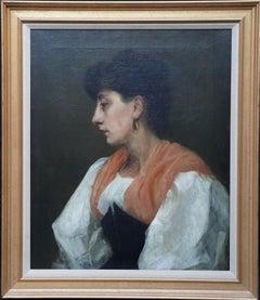 Portrait of a Lady in Orange Shawl - British Edwardian art portrait oil painting