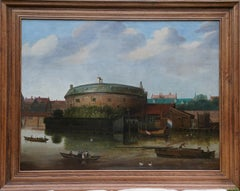 River Scene with Boats and Rotunda Building - Dutch 18th/19thC art oil painting