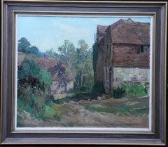 Farm Buildings, Sussex - British exhibited 1930's art landscape oil painting