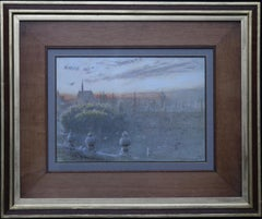 Sunset Over Oxford - British art watercolour cityscape univerisity colleges