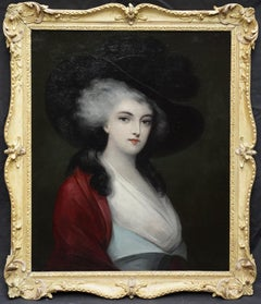 Portrait of a Lady in a Red Cape - British 19th Century art oil painting