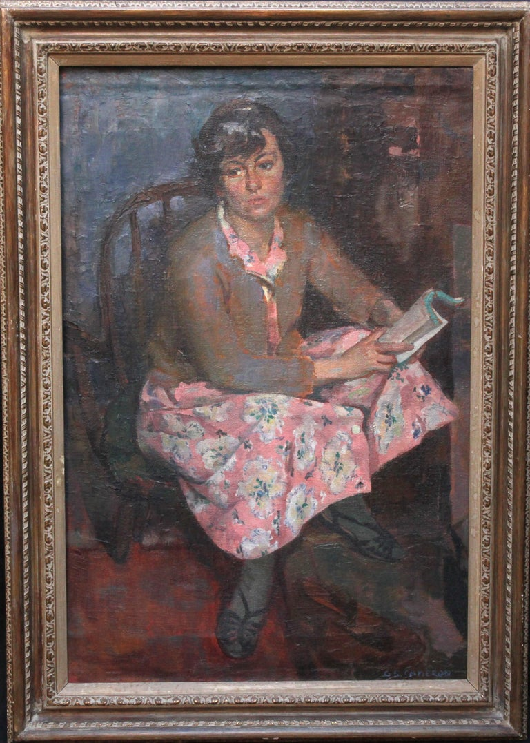 George Stewart Cameron Portrait Painting - Portrait of a Young Woman Reading - Scottish Post Impressionist art oil painting