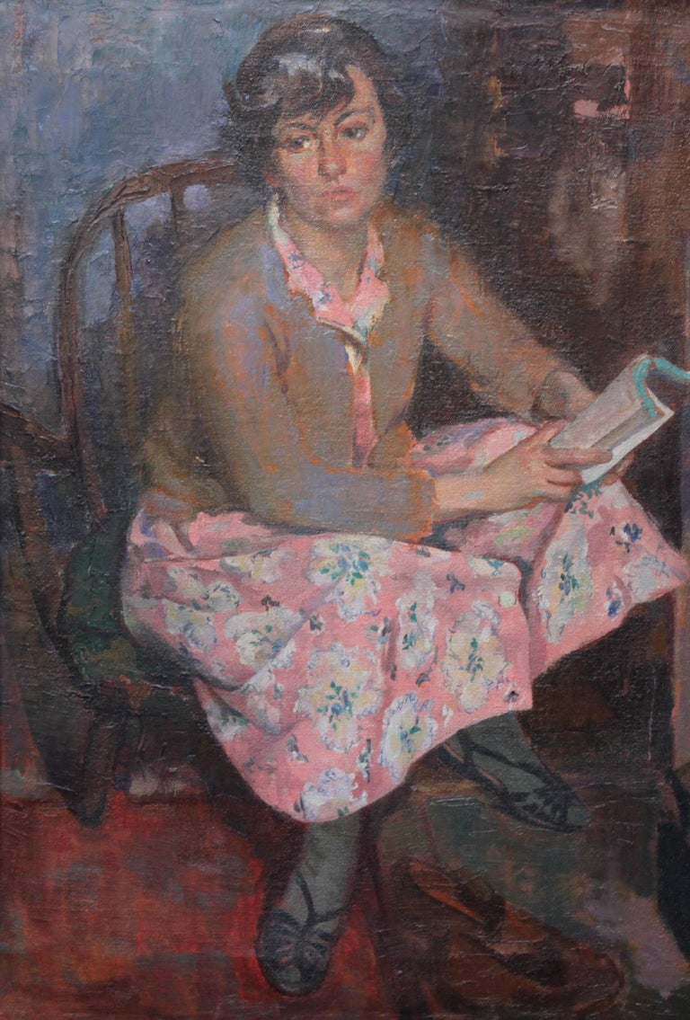 Portrait of a Young Woman Reading - Scottish Post Impressionist art oil painting - Painting by George Stewart Cameron