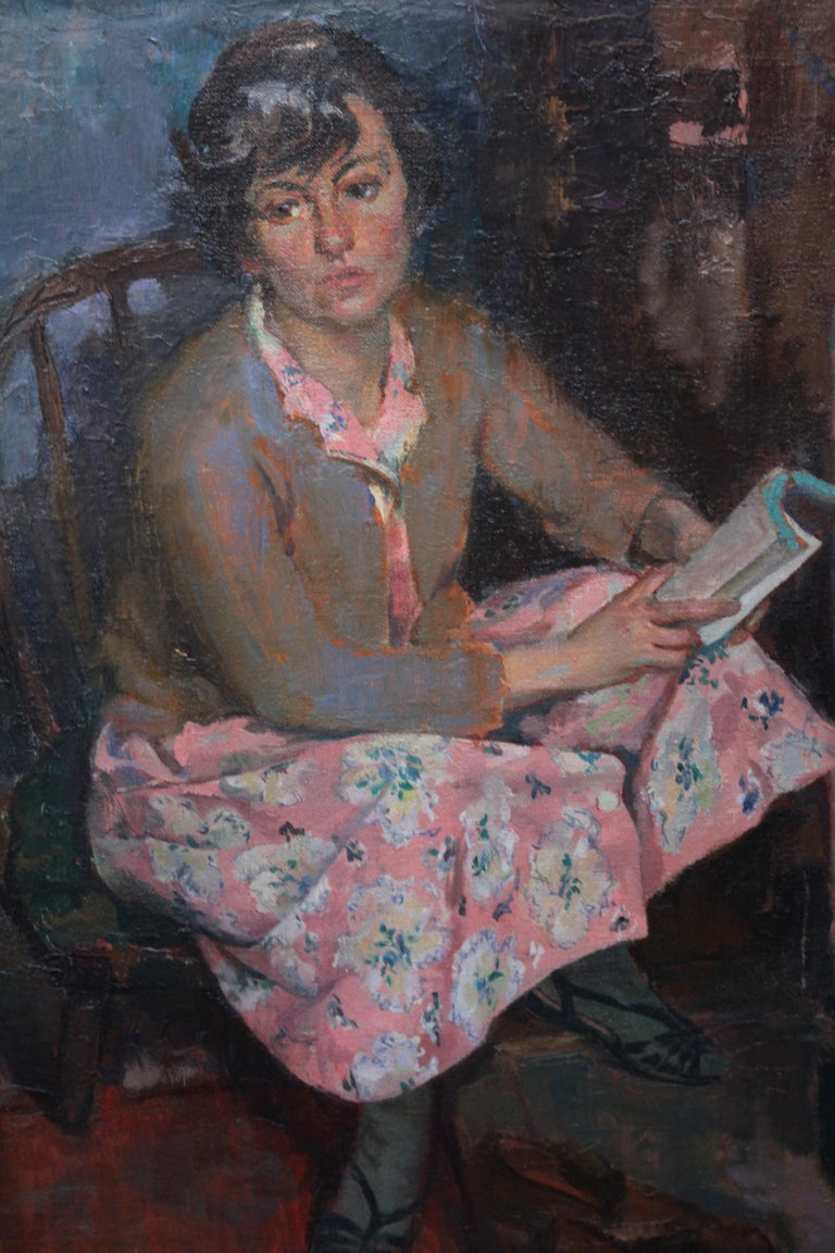 Portrait of a Young Woman Reading - Scottish Post Impressionist art oil painting - Realist Painting by George Stewart Cameron