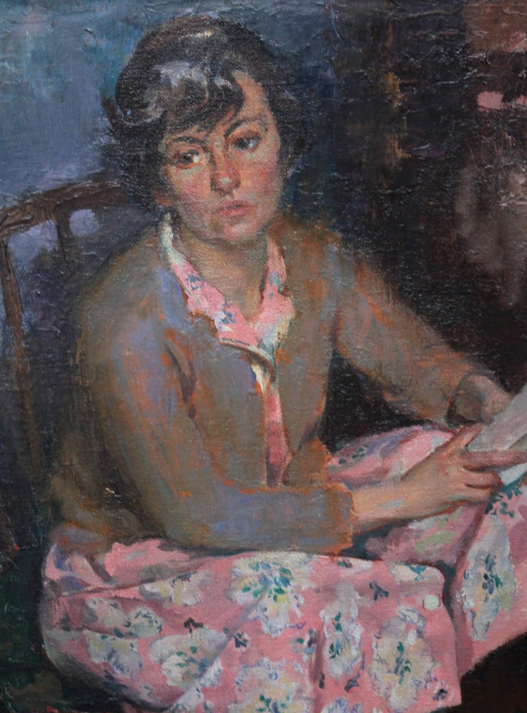 Portrait of a Young Woman Reading - Scottish Post Impressionist art oil painting - Gray Portrait Painting by George Stewart Cameron