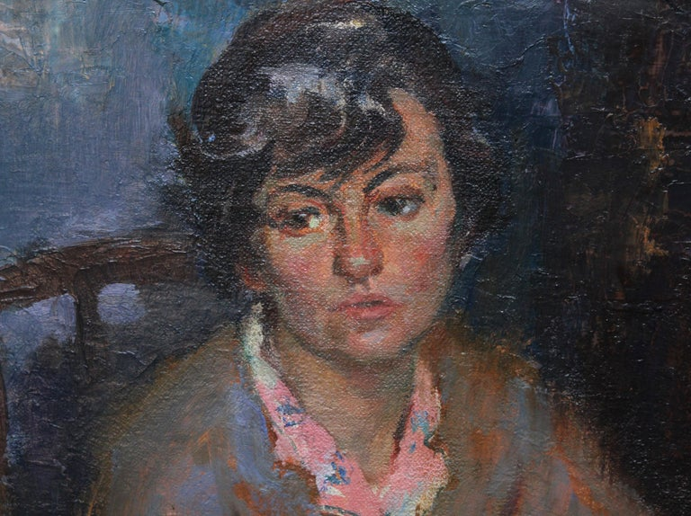 Portrait of a Young Woman Reading - Scottish Post Impressionist art oil painting 1