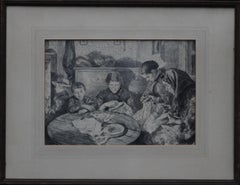 The Sewing Circle - French 1900 art interior portrait drawing women sewing