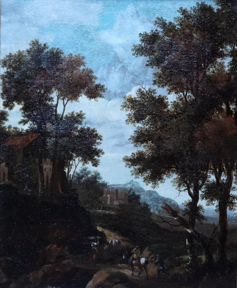 Italian Landscape with Travellers - Dutch Golden Age 17thC art oil painting - Painting by Jacob van der Croos (att)