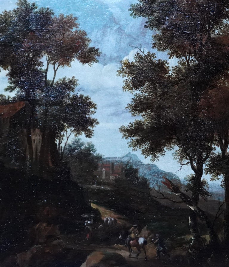 Italian Landscape with Travellers - Dutch Golden Age 17thC art oil painting - Old Masters Painting by Jacob van der Croos (att)