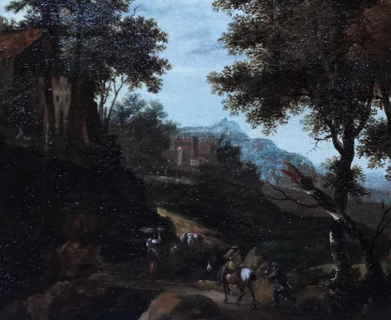 Italian Landscape with Travellers - Dutch Golden Age 17thC art oil painting - Black Landscape Painting by Jacob van der Croos (att)