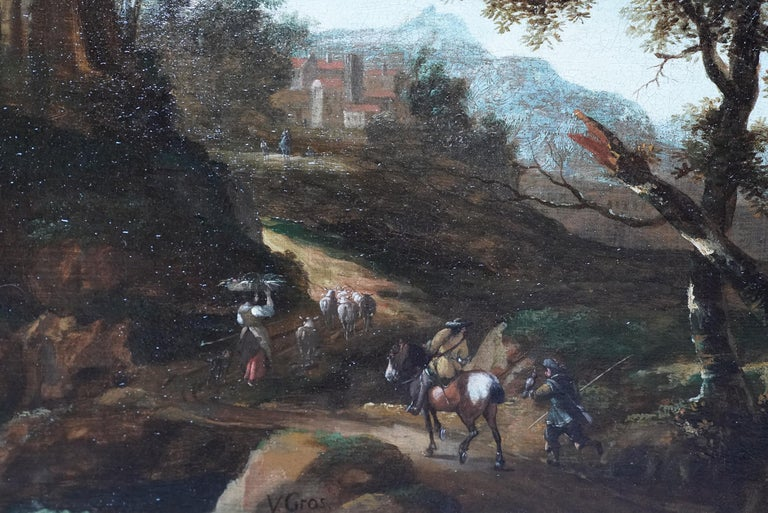 This superb Dutch Golden Age Old Master landscape oil painting is attributed to Jacob van der Croos. Painted circa 1670 it is an Italianate landscape with figures and their animals in the foreground travelling a road through imposing trees to a