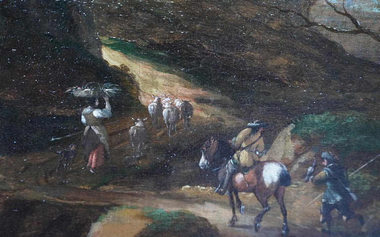 Italian Landscape with Travellers - Dutch Golden Age 17thC art oil painting For Sale 1