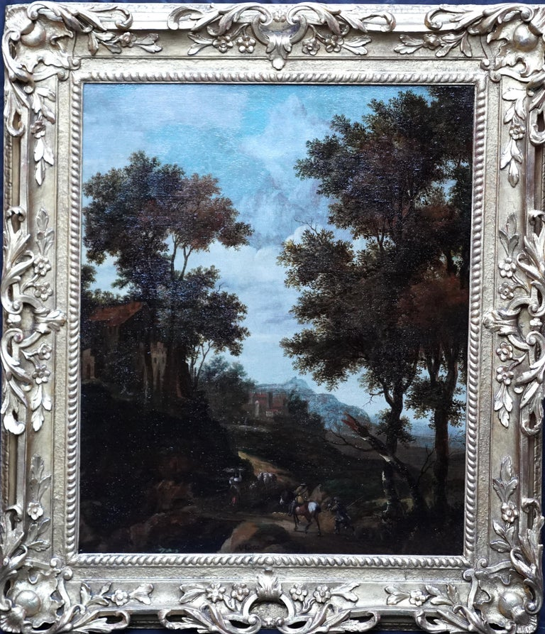 Italian Landscape with Travellers - Dutch Golden Age 17thC art oil painting For Sale 6