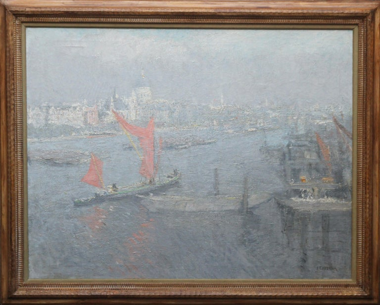 Jacobus Cossaar Landscape Painting - London St Paul's from the Thames - Impressionist 1920s landscape oil painting