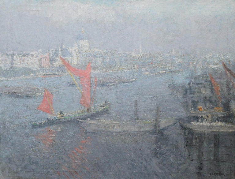 London St Paul's from the Thames - Impressionist 1920s landscape oil painting - Painting by Jacobus Cossaar