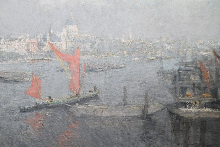 London St Paul's from the Thames - Impressionist 1920s landscape oil painting - Gray Landscape Painting by Jacobus Cossaar