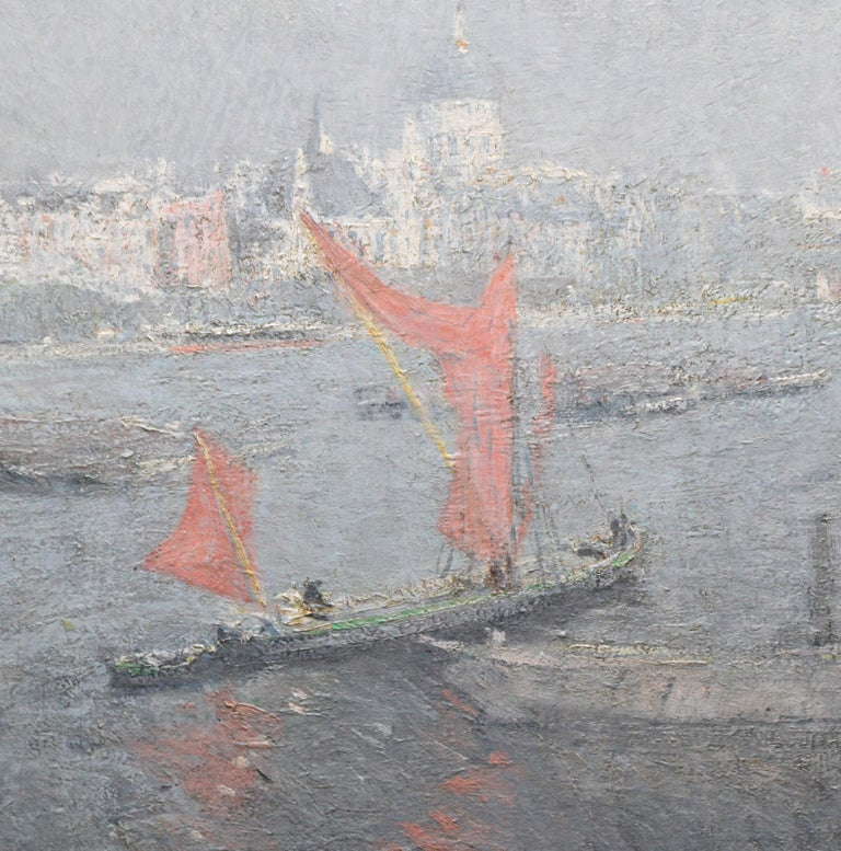 This lovely large Impressionist view of St Paul's from the Thames is by Dutch artist Jacobus Cossaar who also worked under the name Ko Cossaar. It was painted during his eight years in England, circa 1920. The view is across the Thames from south