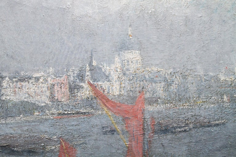 London St Paul's from the Thames - Impressionist 1920s landscape oil painting For Sale 1