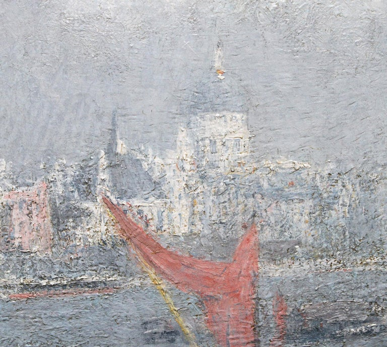 London St Paul's from the Thames - Impressionist 1920s landscape oil painting For Sale 2