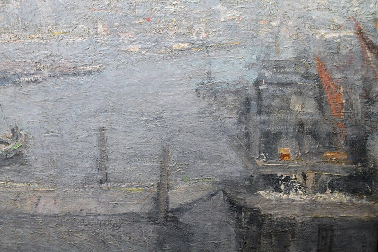 London St Paul's from the Thames - Impressionist 1920s landscape oil painting For Sale 3