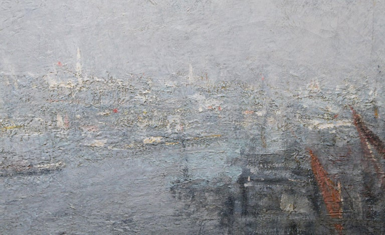 London St Paul's from the Thames - Impressionist 1920s landscape oil painting For Sale 4