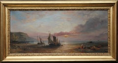 Low Tide at Sunset - Fecamp Normandy - British 19thC art marine oil painting