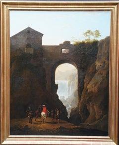 Tivoli Waterfall through Ponte Lupo - British Old Master landscape oil painting