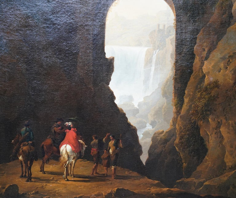 Tivoli Waterfall through Ponte Lupo - British Old Master landscape oil painting For Sale 7