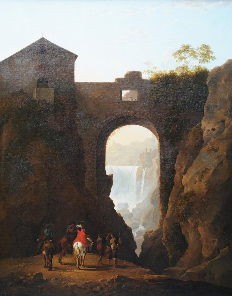 Tivoli Waterfall through Ponte Lupo - British Old Master landscape oil painting For Sale 12