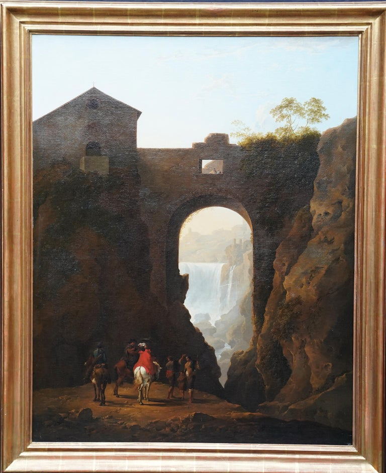 Tivoli Waterfall through Ponte Lupo - British Old Master landscape oil painting For Sale 13