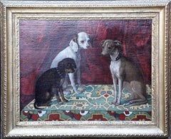 Portrait of Greyhounds - Italian 17thC Old Master dog art oil painting Ushak rug