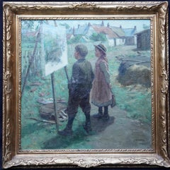 The Young Art Critics - Scottish Edwardian art portrait landscape oil painting
