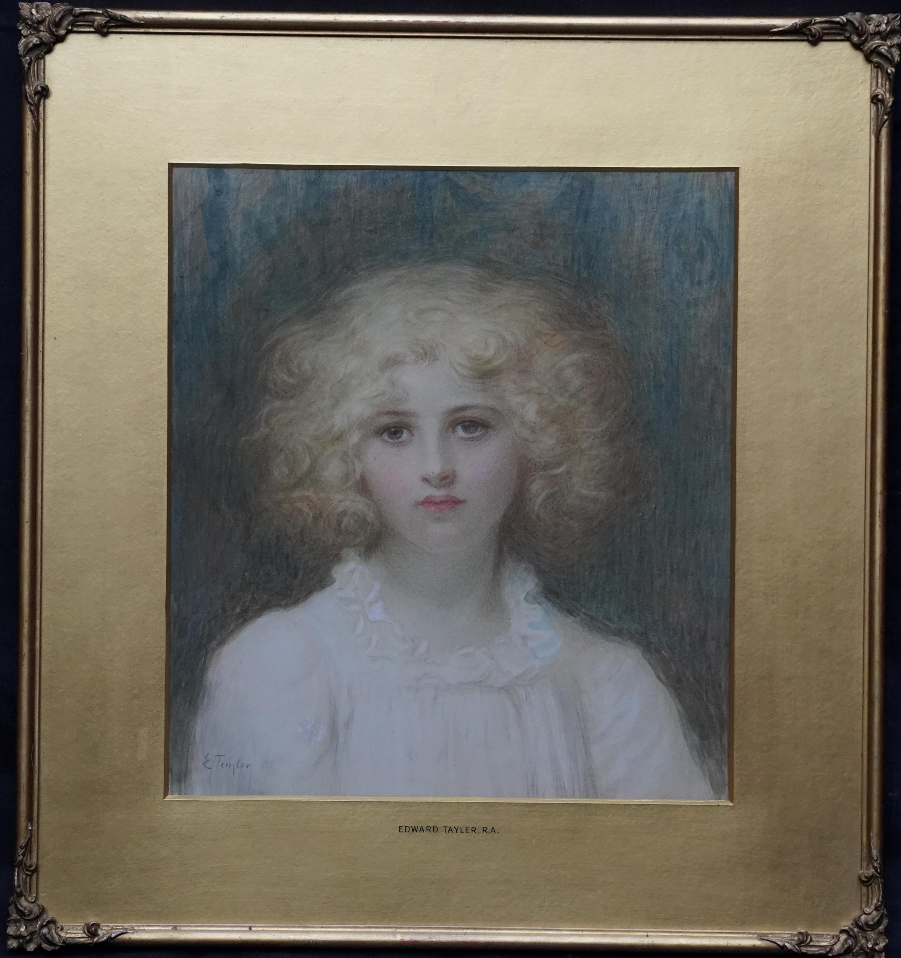 Portrait of a Young Girl with Golden Locks - British Victorian exhib watercolour