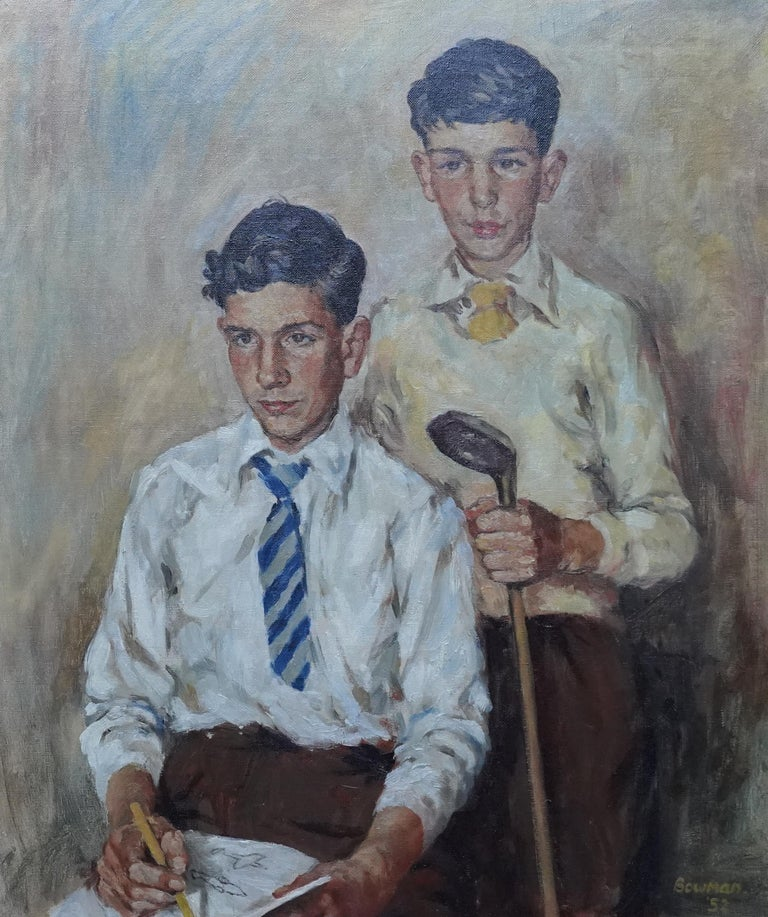 Portrait of a Golfer and Artist - Scottish 1950's art portrait oil painting - Painting by James Bowman