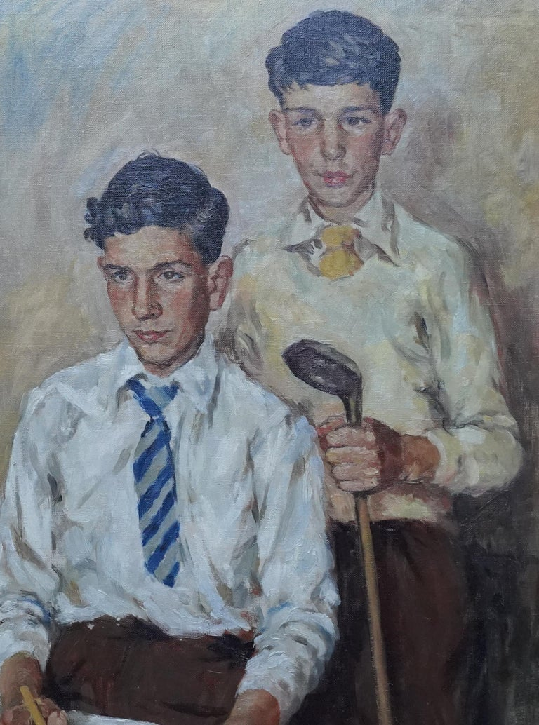 Portrait of a Golfer and Artist - Scottish 1950's art portrait oil painting - Impressionist Painting by James Bowman