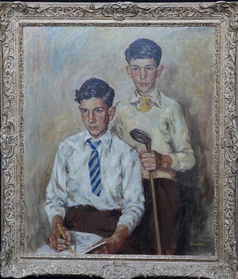 Portrait of a Golfer and Artist - Scottish 1950's art portrait oil painting For Sale 8