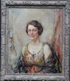 Portrait of a Lady with Pendant - British Art Deco 30's portrait oil painting