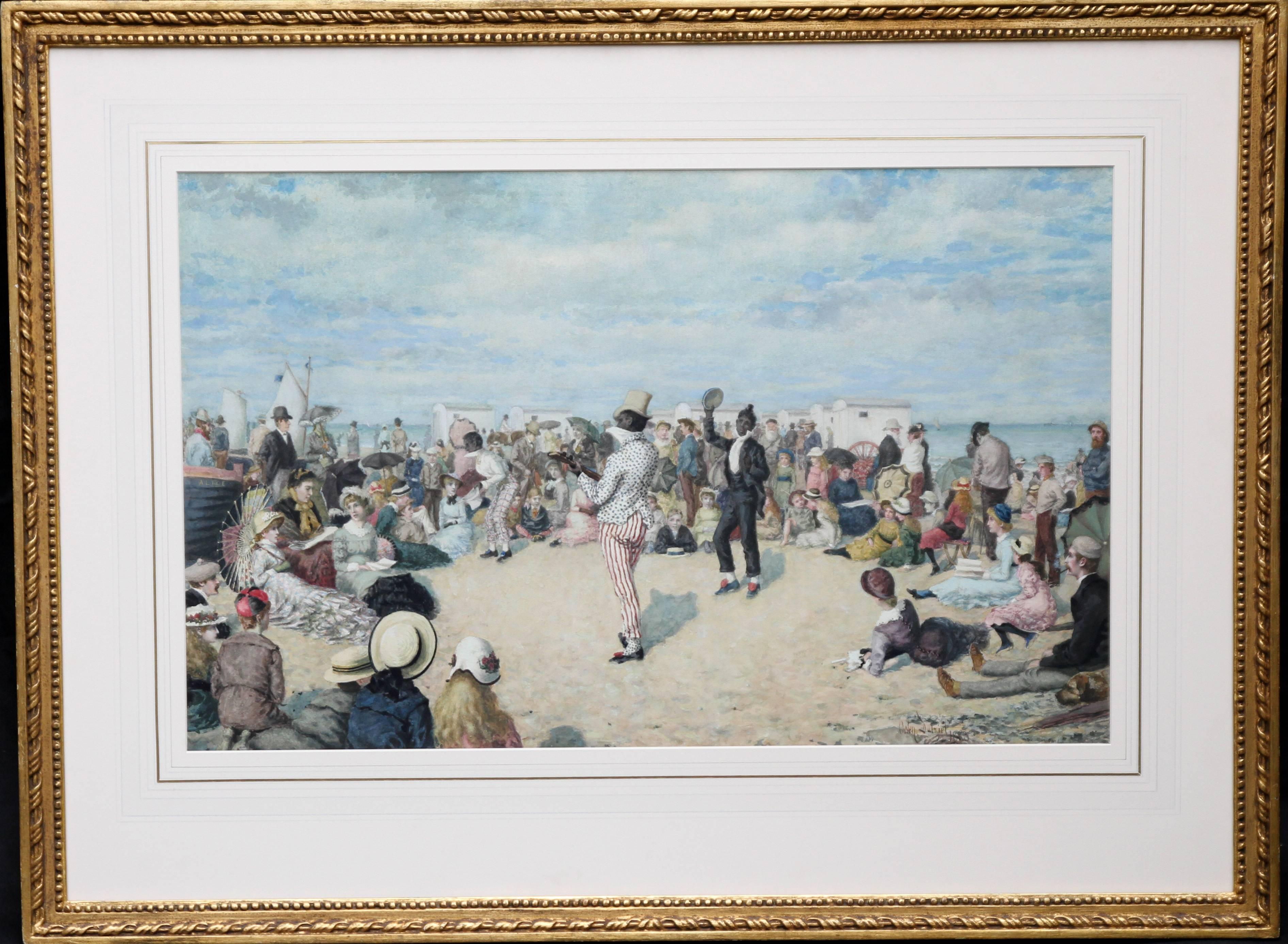 A Morning Concert - Victorian British art w/c painting black entertainers beach