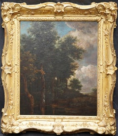 Wooded Landscape with Pond - Dutch Golden Age art 18thC Old Master oil painting
