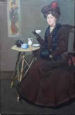 Afternoon Tea - Scottish Edwardian art interior portrait oil painting exh 1907