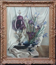 Iris and Venetian Glass - British art 1929 RA exhibited still life oil painting