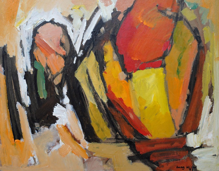 Frank Avray Wilson  Abstract Painting - Abstract '83 - Orange Yellow - British 20th century Action art oil painting