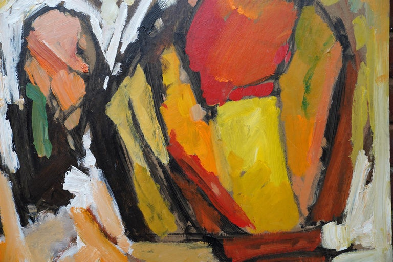 Abstract '83 - Orange Yellow - British 20th century Action art oil painting - Painting by Frank Avray Wilson