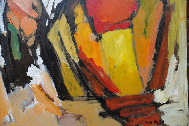 Abstract '83 - Orange Yellow - British 20th century Action art oil painting - Brown Abstract Painting by Frank Avray Wilson