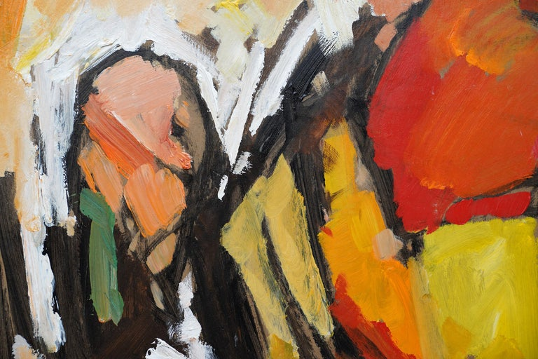 This stunning large Abstract oil on board painting is by noted British artist Frank Avray Wilson. It was painted in 1985 and given to Wilson's good friend and holiday companion,  the late Jon Wynne-Tyson, English author, publisher, Quaker, activist