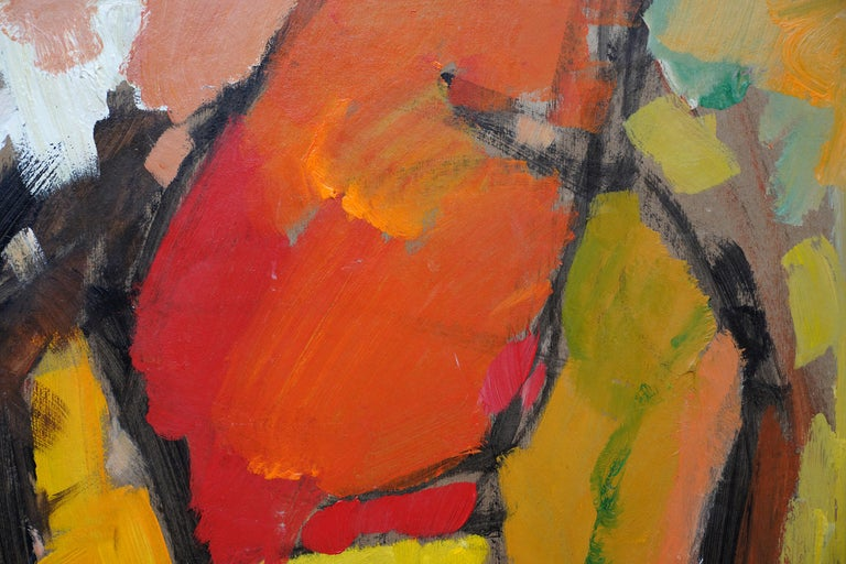 Abstract '83 - Orange Yellow - British 20th century Action art oil painting For Sale 1
