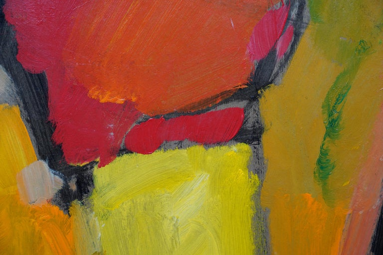 Abstract '83 - Orange Yellow - British 20th century Action art oil painting For Sale 2