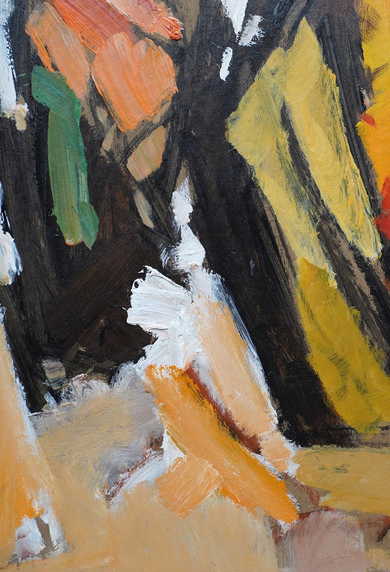 Abstract '83 - Orange Yellow - British 20th century Action art oil painting For Sale 3
